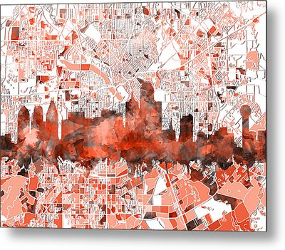 Dallas Skyline Map Red Metal Print