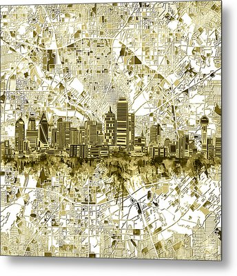 Dallas Skyline Map Sepia 2 Metal Print
