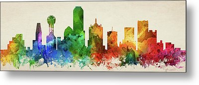 Dallas Skyline Panorama Ustxda-pa03 Metal Print