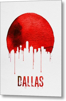 Dallas Skyline Red Metal Print by Naxart Studio