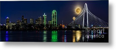 Dallas Skyline With The Strawberry Moon In Panorama Metal Print by Tamyra Ayles