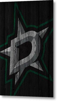 Dallas Stars Wood Fence Metal Print