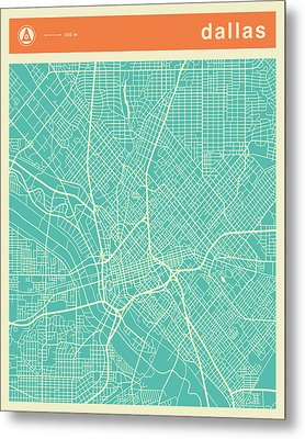 Dallas Street Map Metal Print