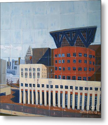 Metal Print featuring the painting Dam Public Library by Erin Fickert-Rowland