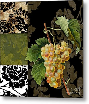 Damask Lerain Wine Grapes Metal Print by Mindy Sommers