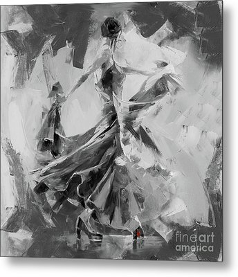 Metal Print featuring the painting Dance Flamenco 01 by Gull G