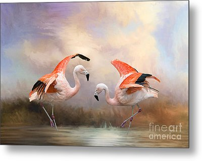 Metal Print featuring the photograph Dance Of The Flamingos  by Bonnie Barry