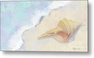 Metal Print featuring the painting Dance Of The Sea - Australian Trumpet Shell Impressionstic by Audrey Jeanne Roberts