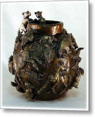 Metal Print featuring the sculpture Dance Of The Seasons - Bronze Bowl With Bear Cubs by Dawn Senior-Trask