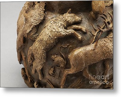 Dance Of The Seasons - Bronze Wildlife Bowl Detail - Wolf And Jumping Mice Metal Print