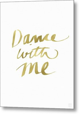 Dance With Me Gold- Art By Linda Woods Metal Print by Linda Woods