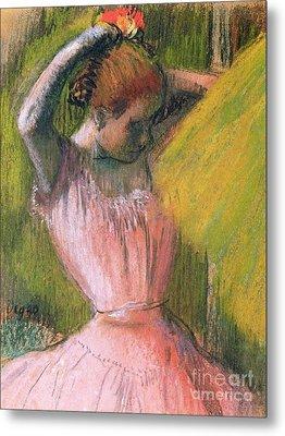 Dancer Arranging Her Hair Metal Print by Edgar Degas