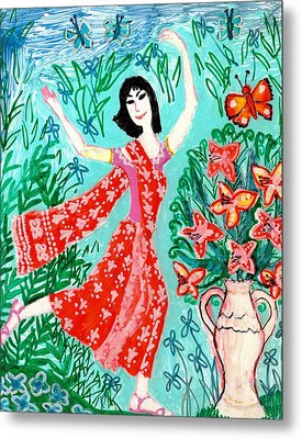 Dancer In Red Sari Metal Print by Sushila Burgess