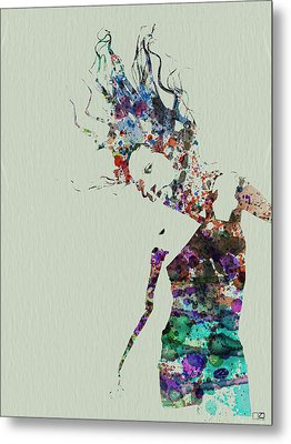 Dancer Watercolor Splash Metal Print by Naxart Studio