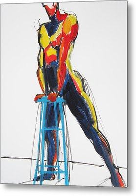 Dancer With Drafting Stool Metal Print
