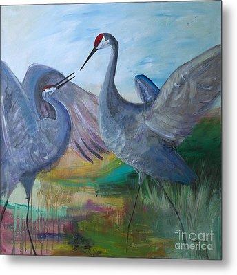 Dancing Cranes Metal Print