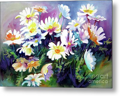Metal Print featuring the painting Dancing Daisies by Kathy Braud