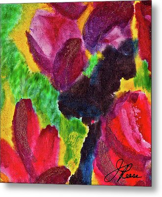 Metal Print featuring the painting Dancing Flowers by Joan Reese