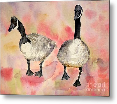 Dancing Geese Metal Print by Vicki  Housel