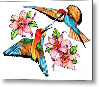 Dancing Hummingbirds Metal Print by Sheryl Unwin