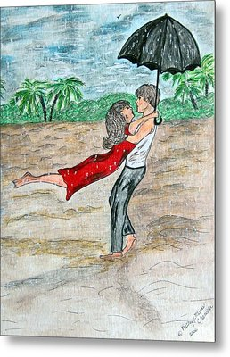 Dancing In The Rain On The Beach Metal Print