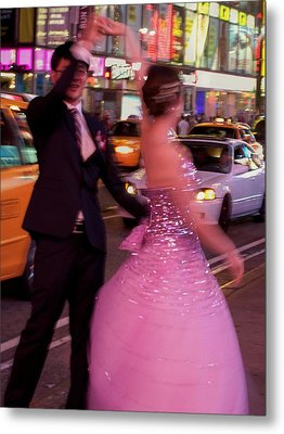 Dancing In Times Square Metal Print by Vijay Sharon Govender