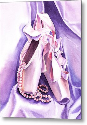 Dancing Pearls Ballet Slippers  Metal Print