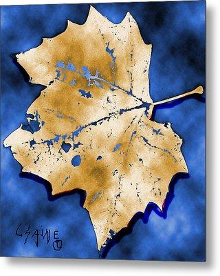 Dancing Tan Leaf Metal Print by Carolyn Saine