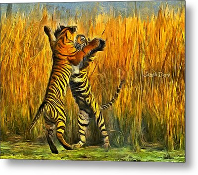 Dancing Tigers Metal Print