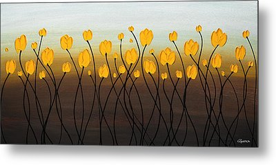 Metal Print featuring the painting Dancing Tulips by Carmen Guedez
