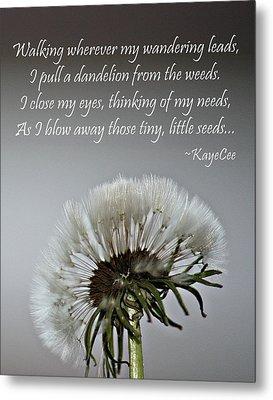 Dandelion Dreams- Fine Art And Poetry Metal Print