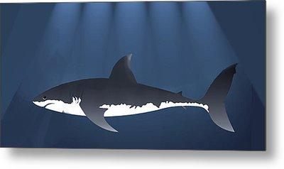 Danger Shark Below Metal Print by Elaine Plesser
