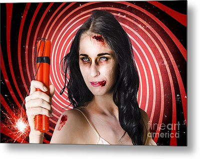Danger. Zombie Holding Explosives In A Terror Act  Metal Print by Jorgo Photography - Wall Art Gallery