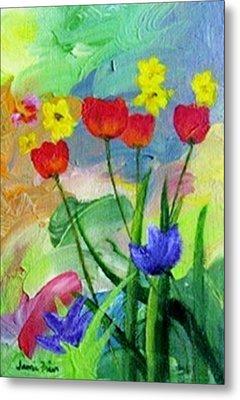 Metal Print featuring the painting Daria's Flowers by Jamie Frier