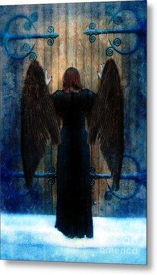 Dark Angel At Church Doors Metal Print by Jill Battaglia