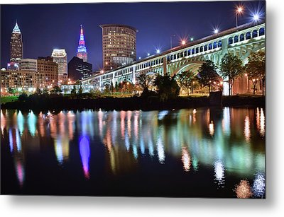 Dark Blue Night In Cle Metal Print by Frozen in Time Fine Art Photography