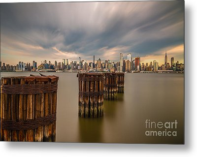 Dark Clouds Over Nyc Metal Print by Abe Pacana