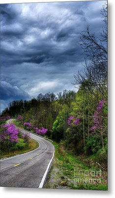 Metal Print featuring the photograph Dark Clouds Over Redbud Highway by Thomas R Fletcher
