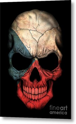 Dark Czech Flag Skull Metal Print