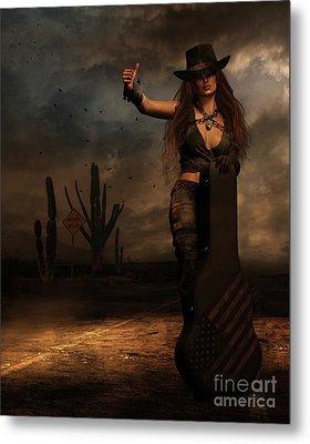 Metal Print featuring the digital art Dark Desert Highway by Shanina Conway