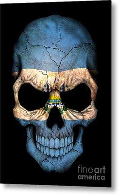 Dark El Salvador Flag Skull Metal Print