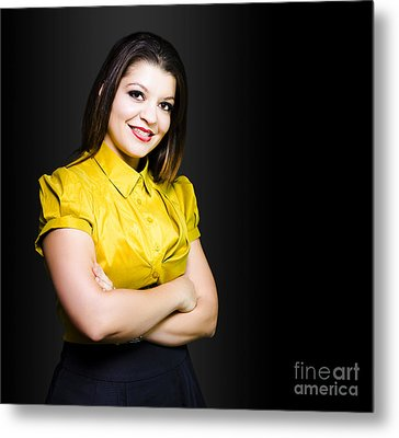 Dark Haired Business Beauty In Gold Blouse Metal Print by Jorgo Photography - Wall Art Gallery