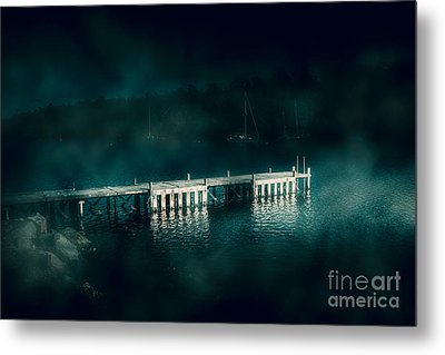 Dark Haunting Wooden Pier Metal Print by Jorgo Photography - Wall Art Gallery
