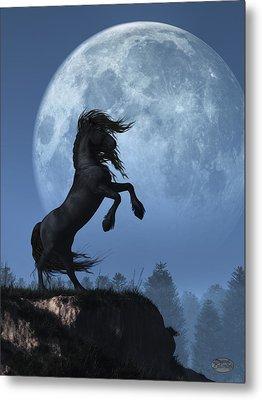 Metal Print featuring the digital art Dark Horse And Full Moon by Daniel Eskridge
