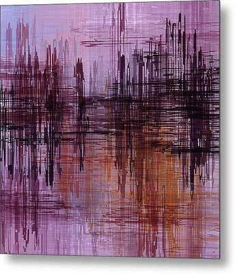 Metal Print featuring the painting Dark Lines Abstract And Minimalist Painting by Ayse Deniz