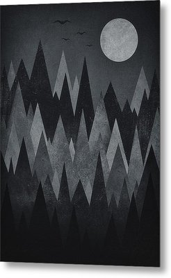 Dark Mystery Abstract Geometric Triangle Peak Woods Black And White Metal Print