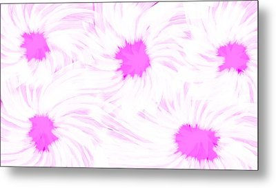 'dark Pink And White Flower Abstract' Metal Print