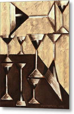 Tommervik Abstract Dark Rum Cocktails Art Print Metal Print by Tommervik