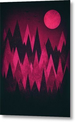 Dark Triangles - Peak Woods Abstract Grunge Mountains Design In Red Black Metal Print