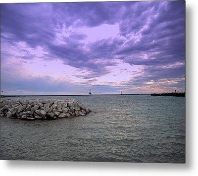 Darkening Skies Over Lake Michigan Metal Print